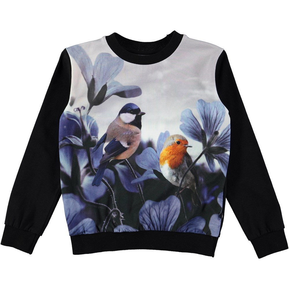 Regine - Birds Of Poetry - long sleeve black top in a sweatshirt look with bird