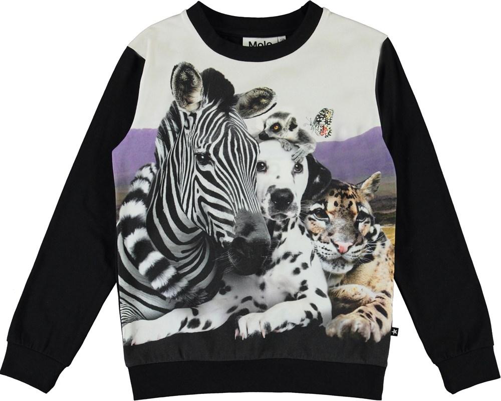 Regine - Cheek To Cheek - Black organic top with animal print