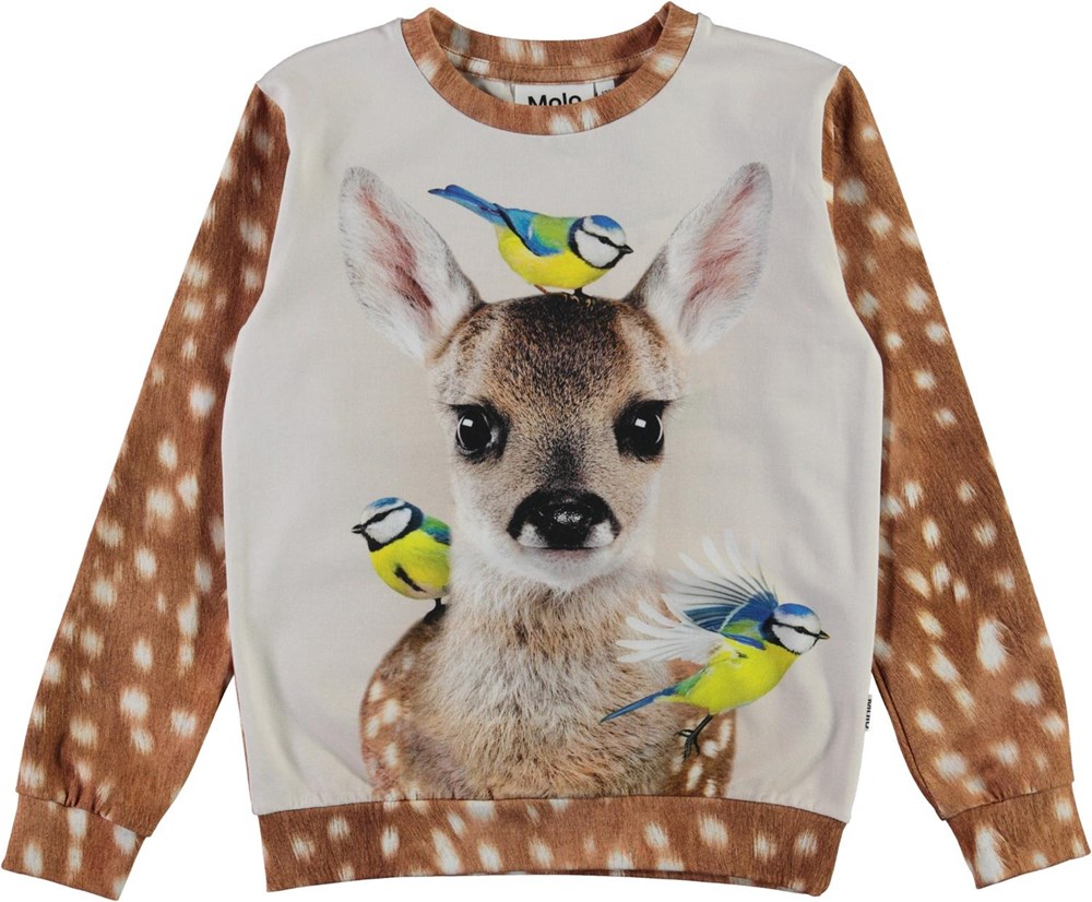 Regine - Fawn And Birds - Brown organic top with white spots and deer