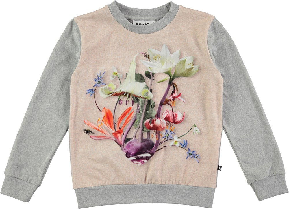 Regine - Floral Vegetable - Long sleeve grey t-shirt with digital flower print
