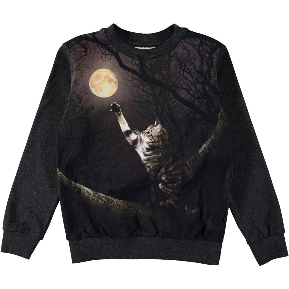 Regine - Moon Catcher - long sleeve dark green top with cat print