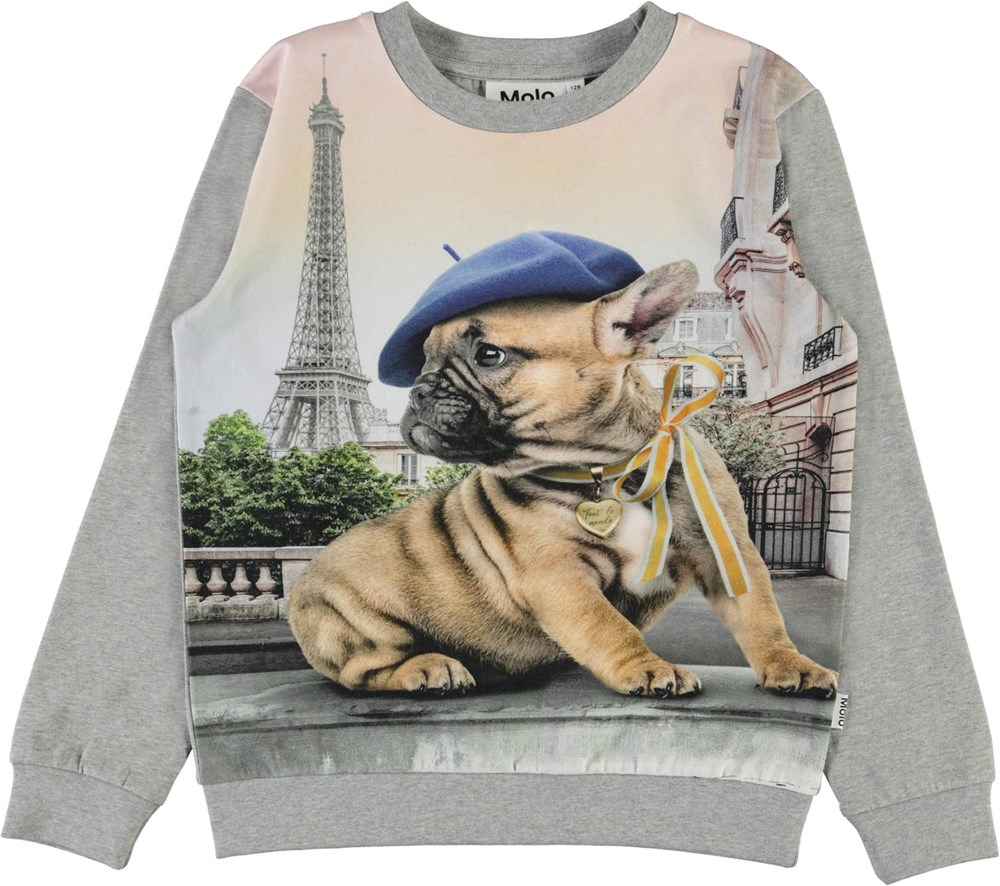Regine - Tout Le Monde - Top with the Eiffel Tower and a French Bulldog
