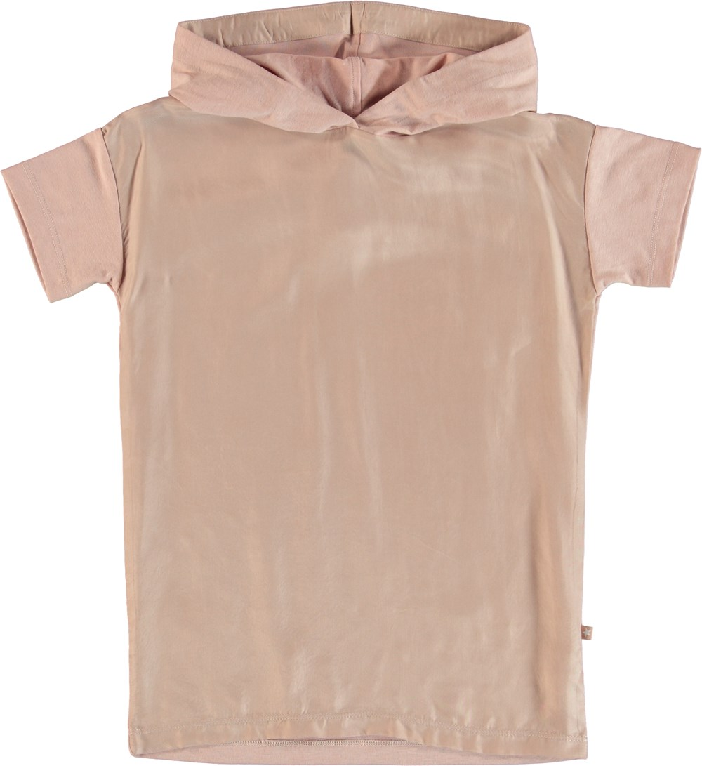 Rehanna - Cameo Rose - Hoodie top with short sleeves in cupro.