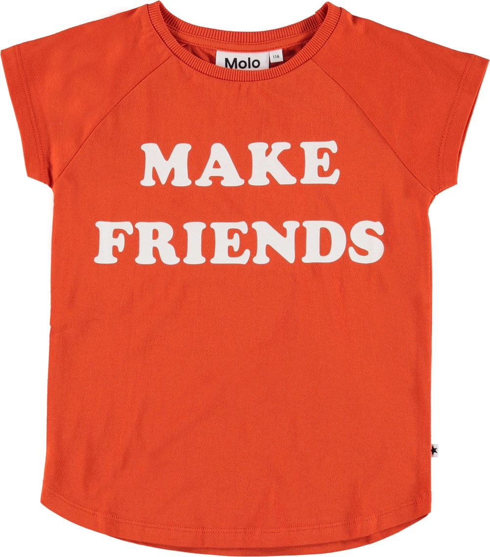 Reinette - Cherry Tomato - Red t-shirt with make friends.