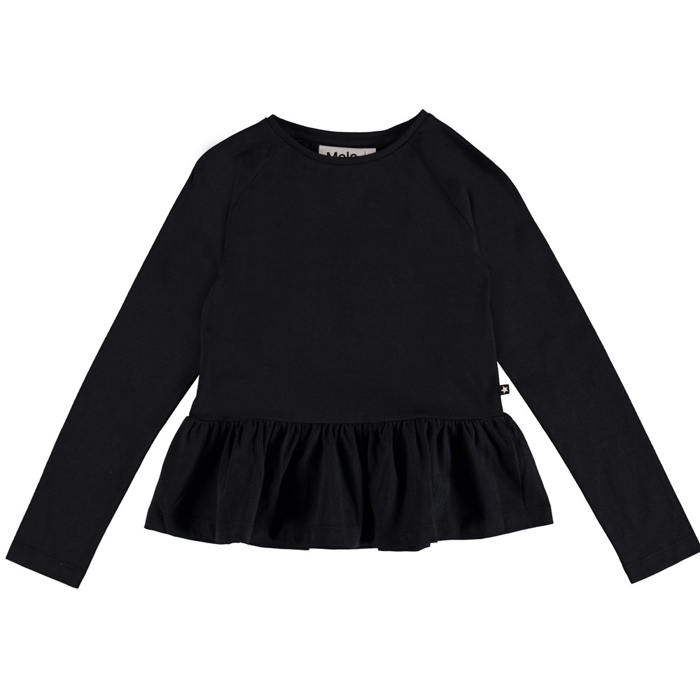 Renata - Black - Long sleeve black peplum top.