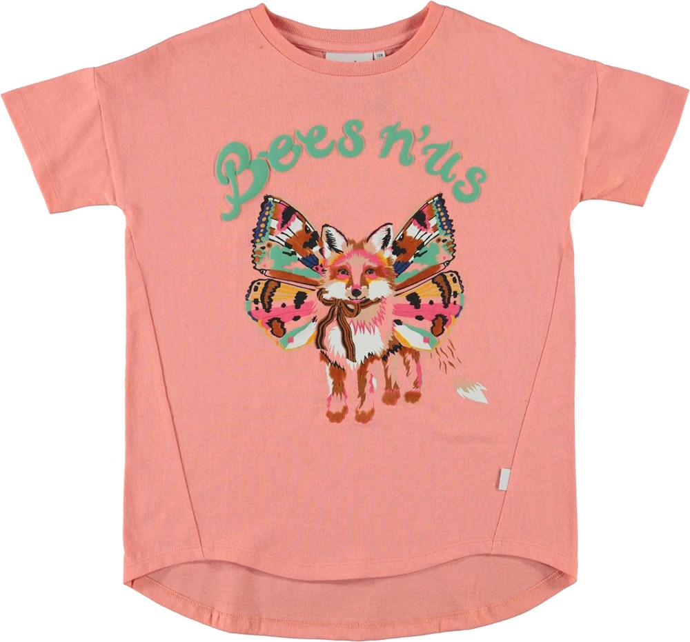 Renessa - Bees N Us - Coral organic t-shirt with fox with wings
