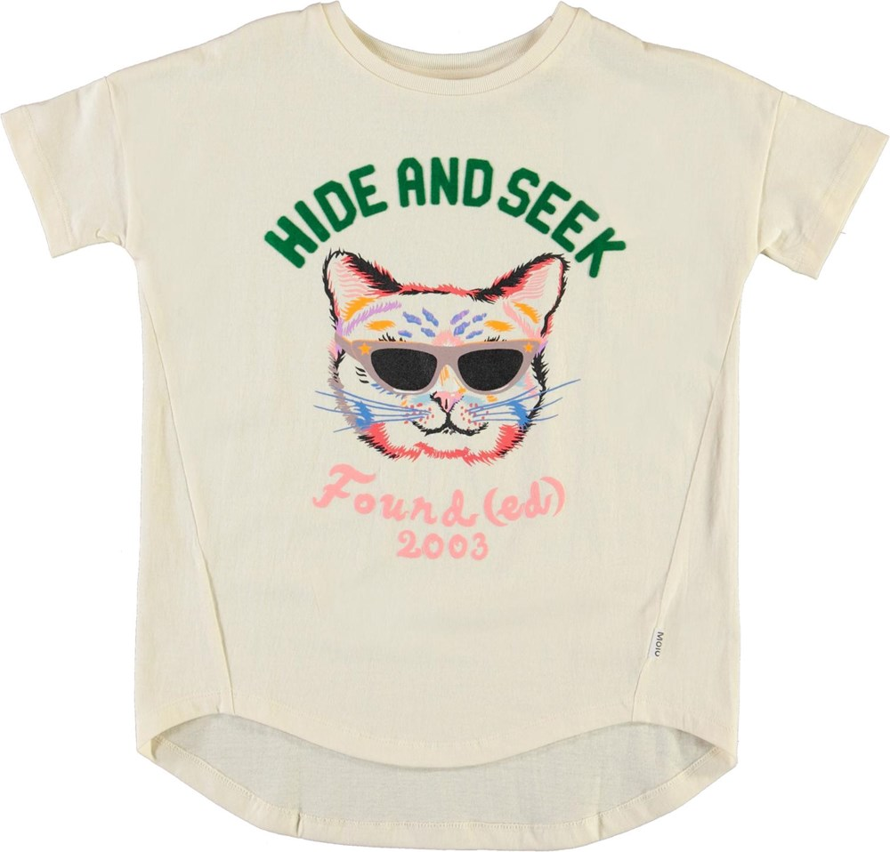 Renessa - Pearled Ivory - Organic t-shirt with print of cat
