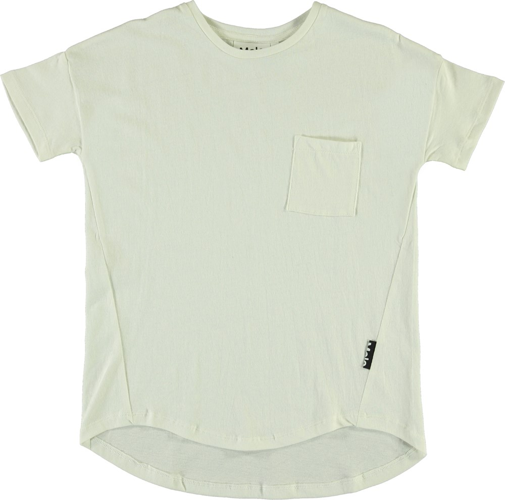 Renessa - White Star - White t-shirt with pocket