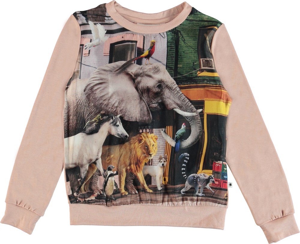 Renita - Animals Of The World - Long sleeve top in cupro with animals on the front.