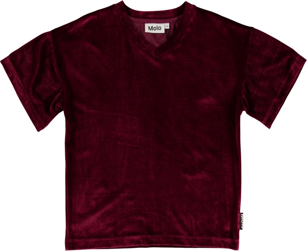 Rennie - Sumak - Dark red corduroy t-shirt