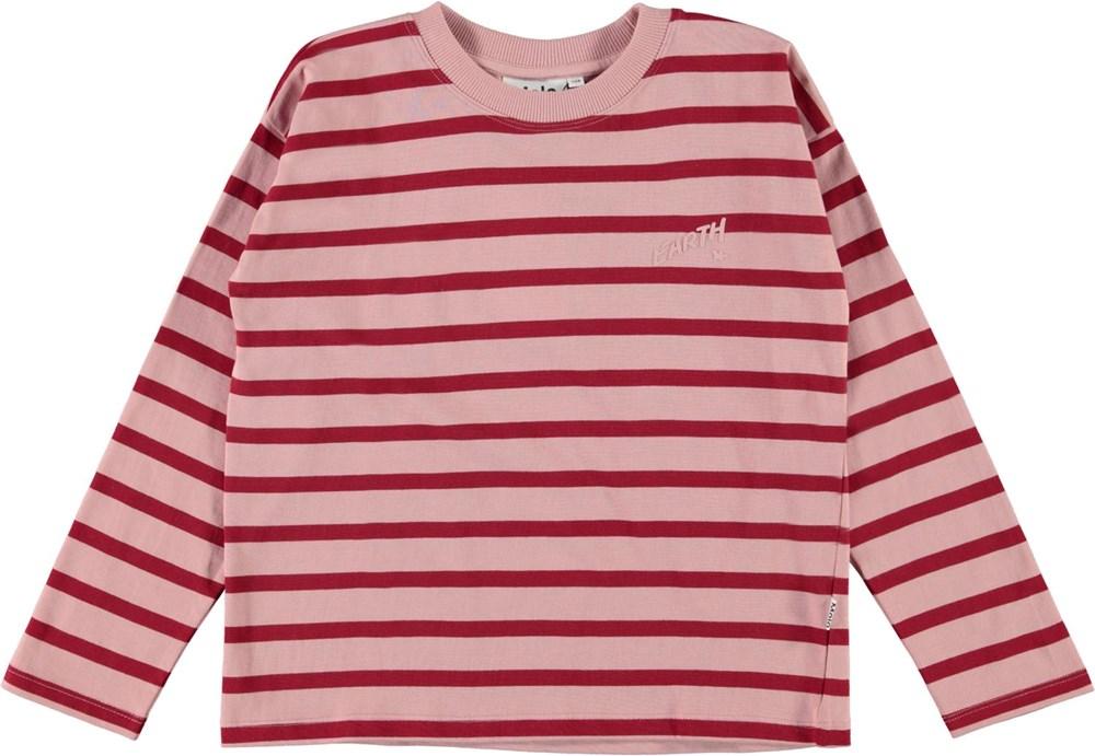 Reyna - Rosequatz Breton - Pink organic top with red stripes