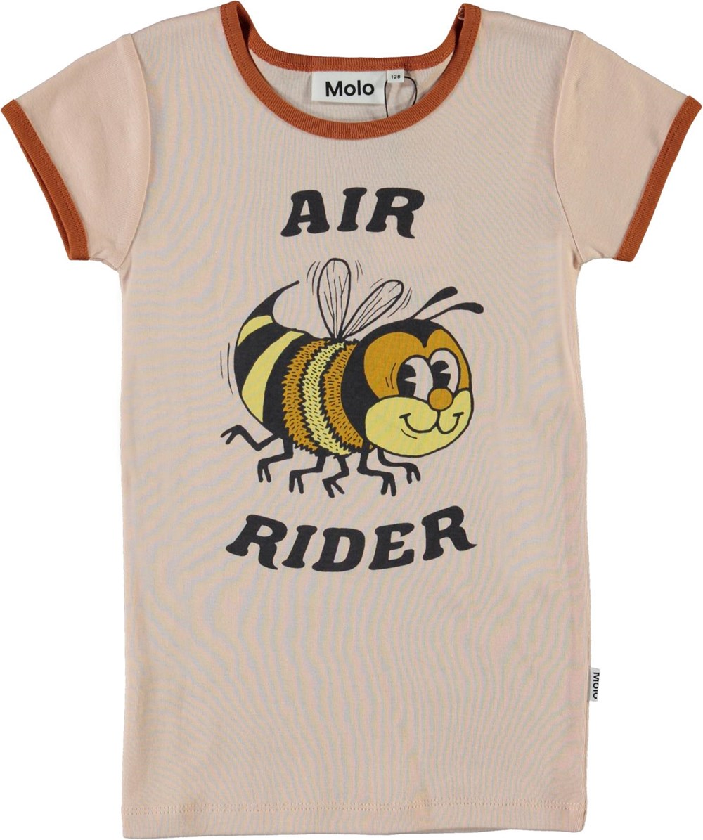 Rhiannon - Air Rider - Rose coloured organic t-shirt with bee and air rider
