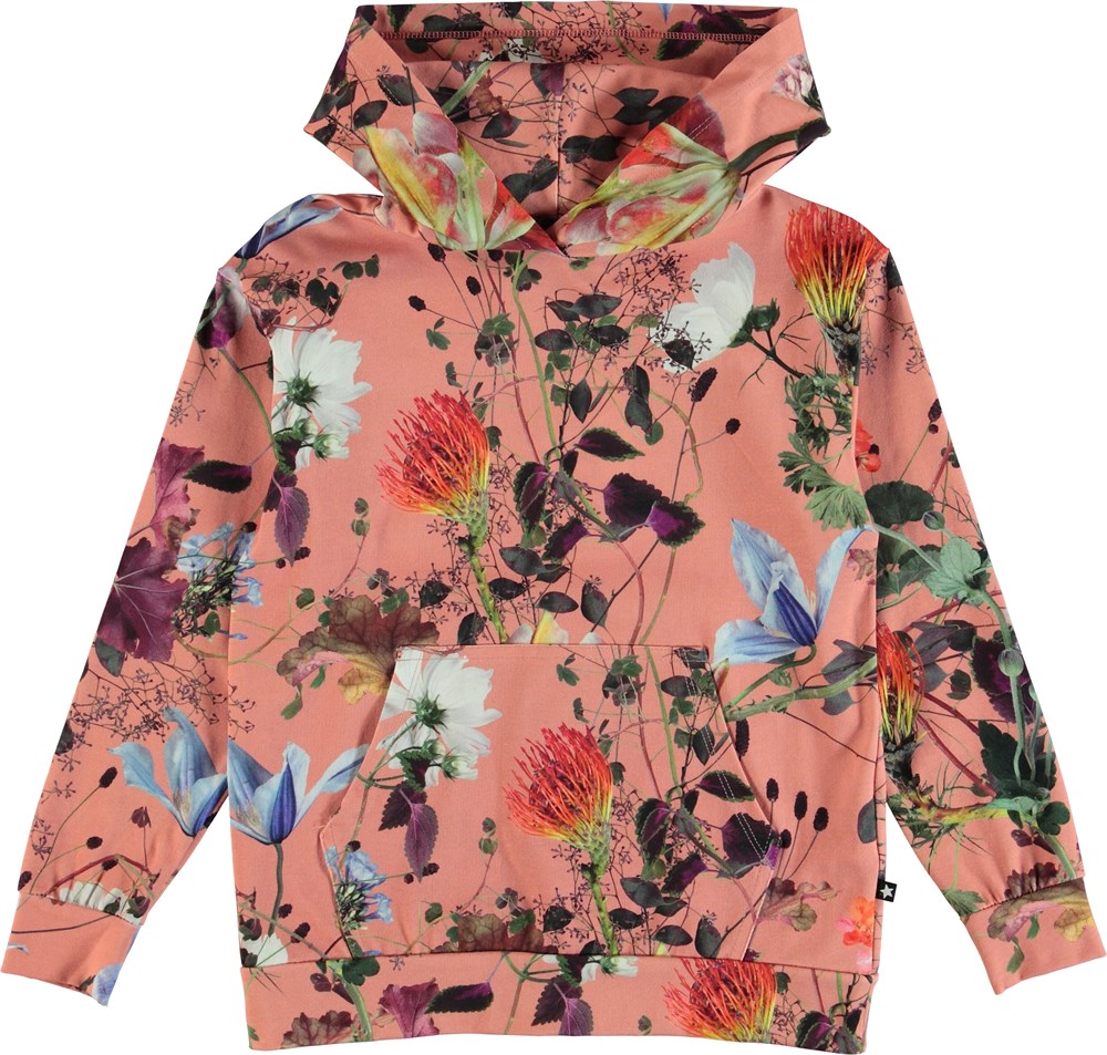 Rhona - Flowers Of The World - Flowered hoodie top.