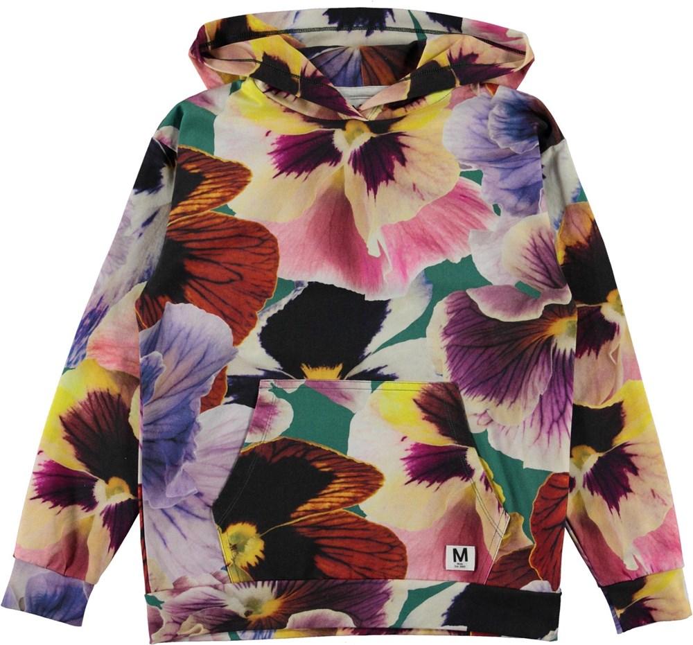 Rhona - Velvet Floral - Organic hoodie with floral print