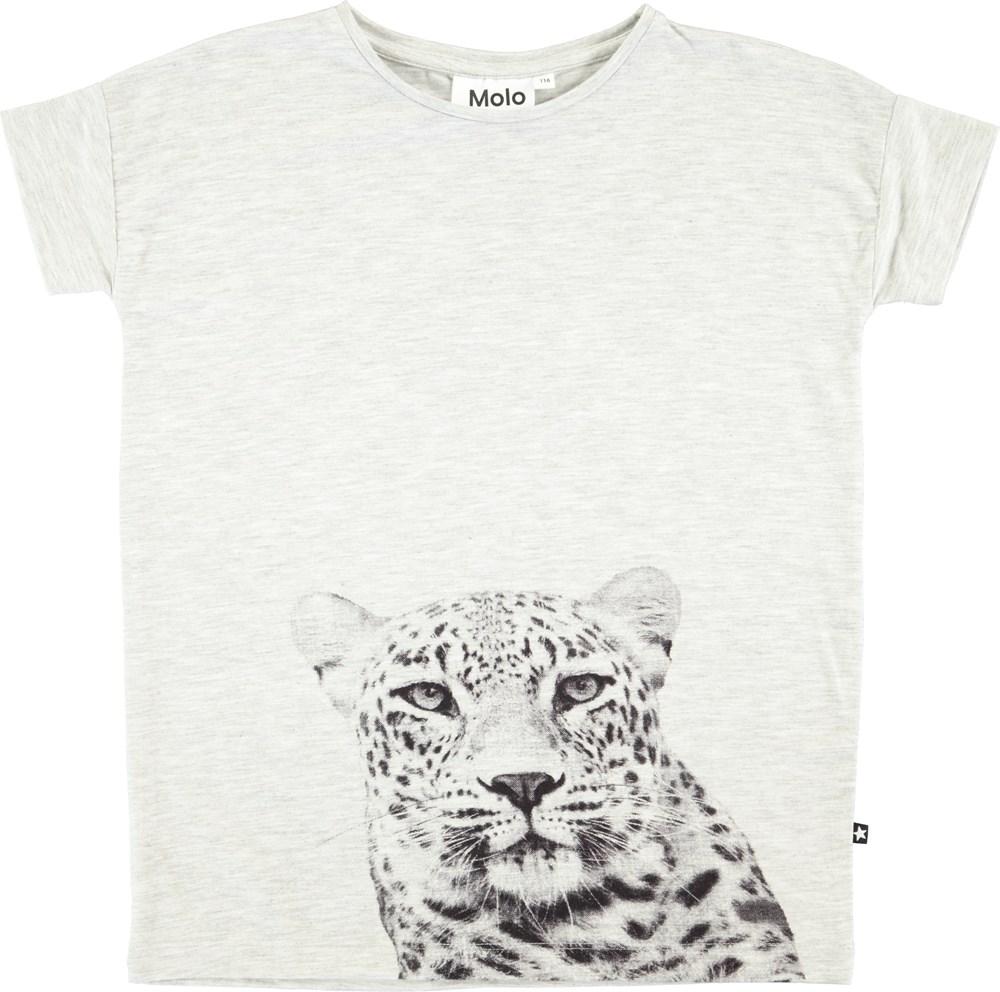 Rilla - Light Grey Melange - Light grey t-shirt with digital leopard print