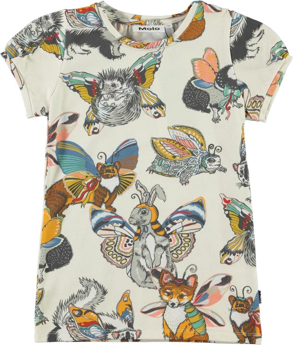 Rimona - Hedgerow Buzz - Organic t-shirt with animal print
