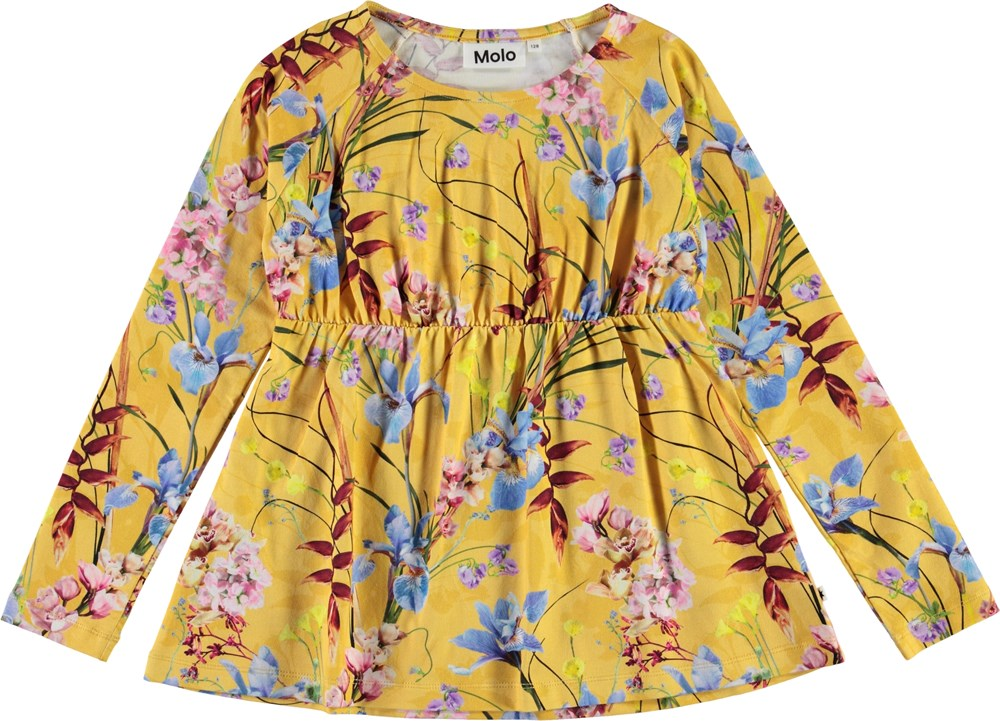 Rina - The Art Of Flowers - Yellow organic top with flowers