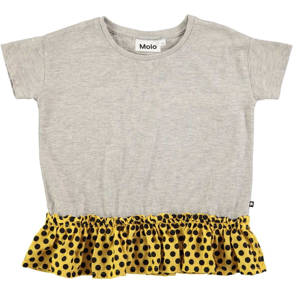 Rine - Grey Melange - Short sleeve grey t-shirt with dotted skirt
