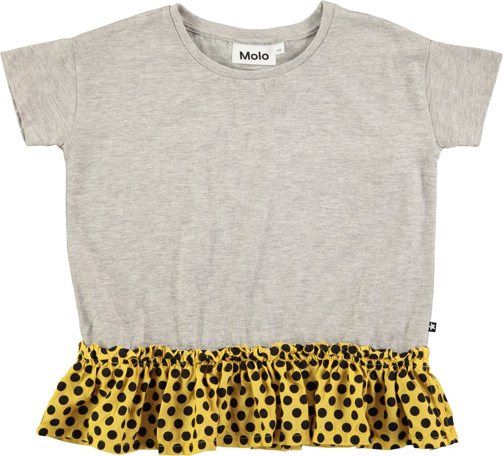 Rine - Grey Melange - Short sleeve grey t-shirt with dotted skirt