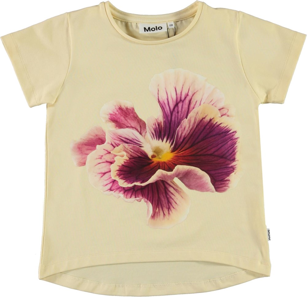 Risha - One Pansy - Yellow t-shirt with floral print