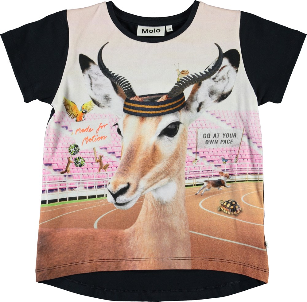 Risha - Your Own Pace - Black organic t-shirt with sporty animals