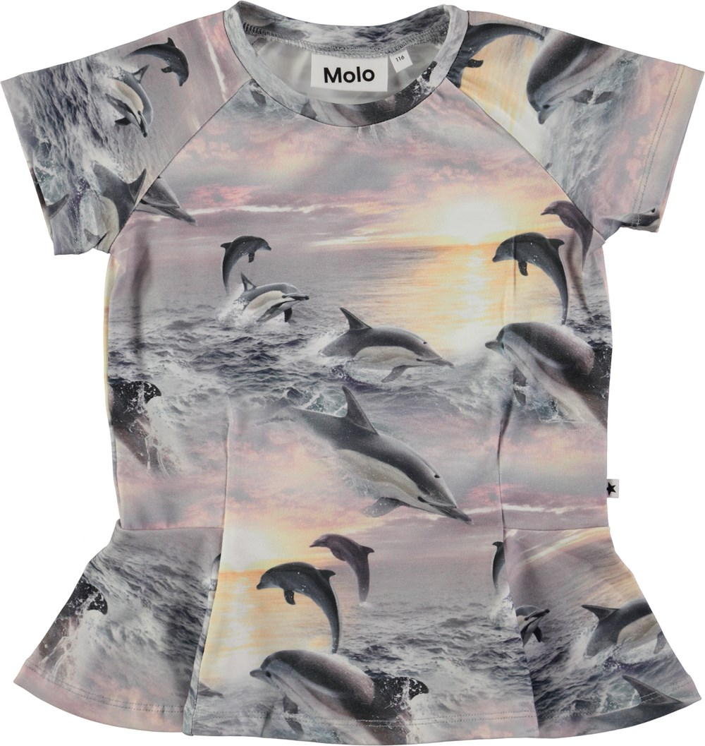 Robbin - Dolphin Sunset - Short sleeve t-shirt with peplum and digital dolphin print