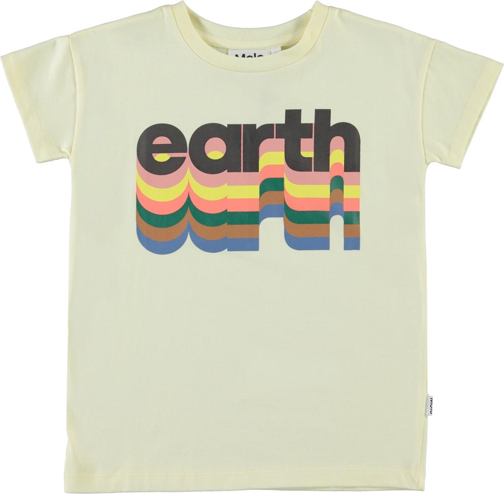 Robine - Earth Marzipan - Light yellow t-shirt with Earth