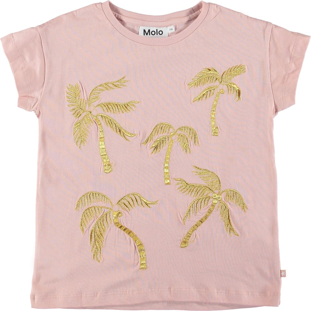 Robine - Gold Palms - Pink t-shirt with gold palms.