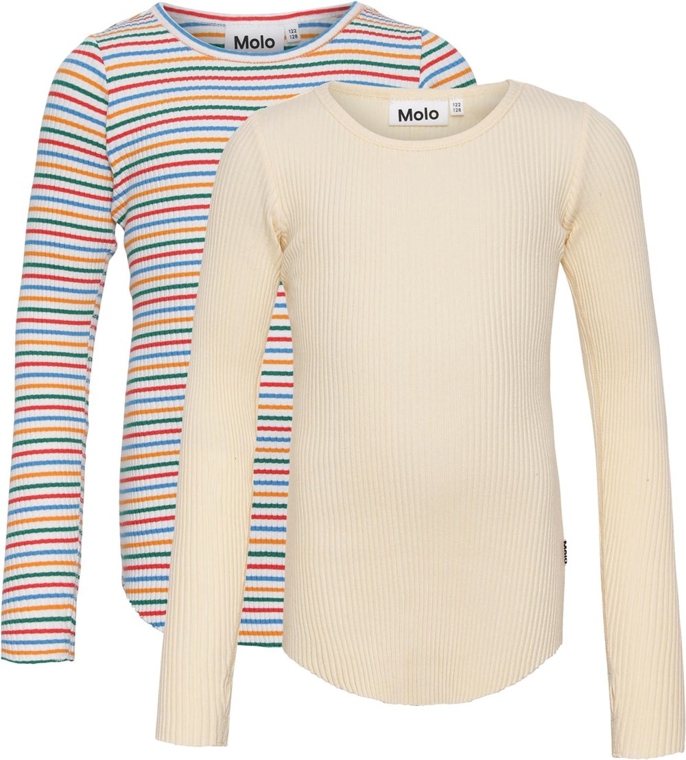 Rochelle 2-Pack - Banana Rainbow - Yellow and striped, 2-pack organic tops