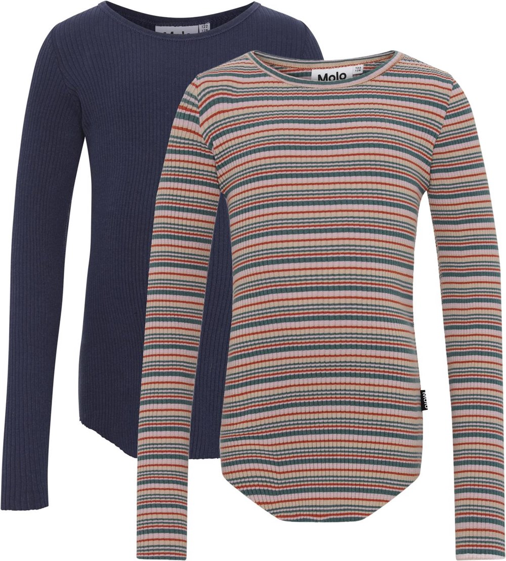 Rochelle 2-Pack - Multi Blue - Organic 2-pack in blue and stripes