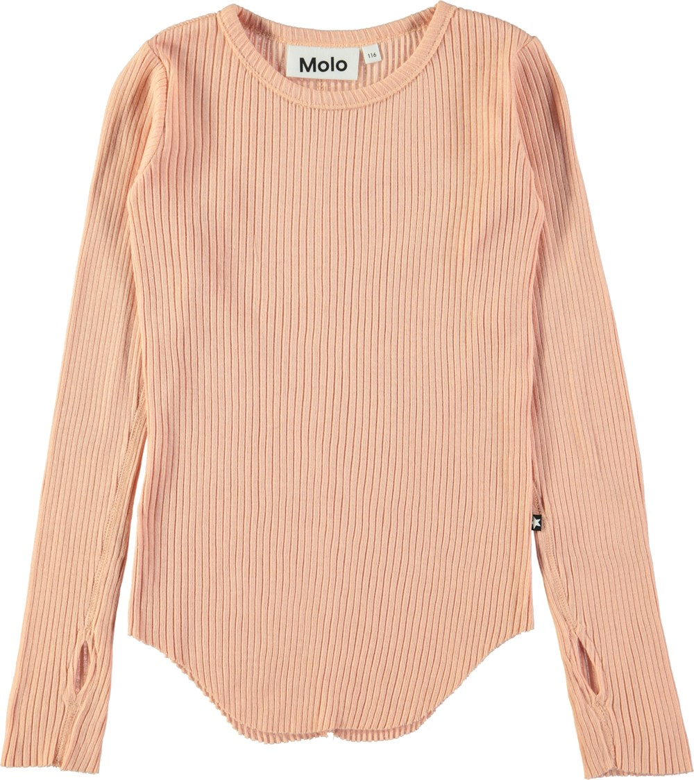 Rochelle - Dusty Pink - Long sleeve, powder coloured top in rib