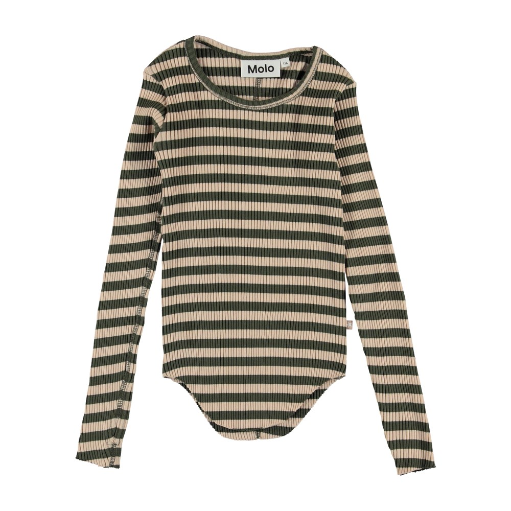 Rochelle - Evergreen Rose Stripe - Long sleeve t-shirt with stripes