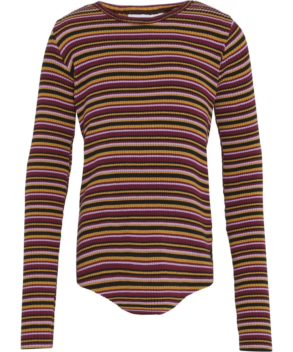 Rochelle - Multi Jersey - Multi-coloured striped organic rib top