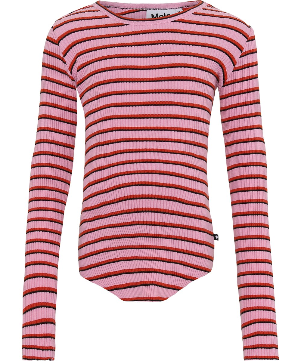 Rochelle - Pink Red Stripe - Pink and red striped organic rib top