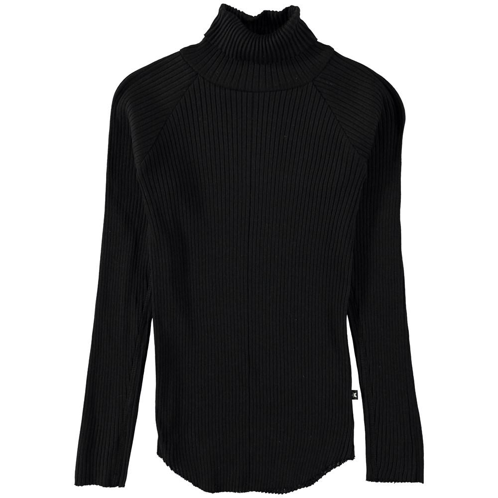 Romaine - Black - Black rib top with rollneck