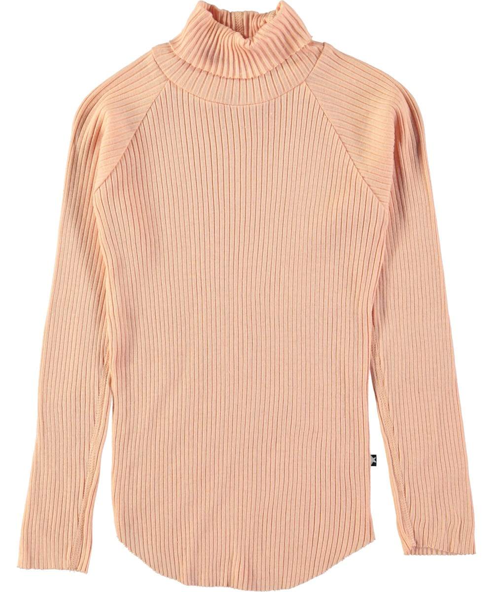 Romaine - Dusty Pink - Powder coloured rib top with rollneck