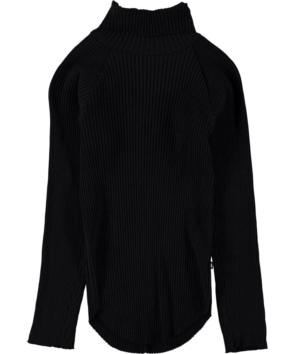 Romaine - Black - Black rollneck top.