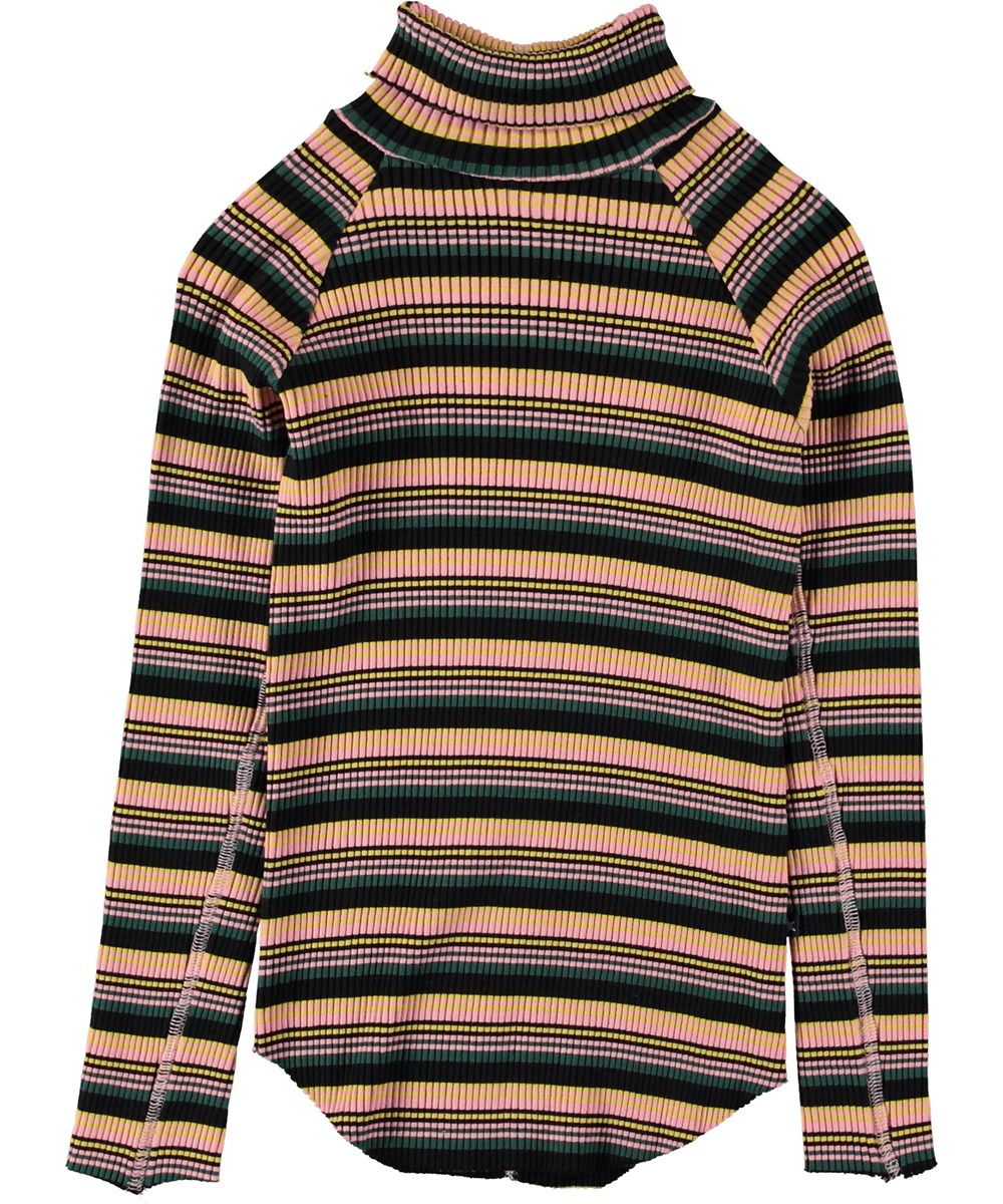 Romaine - Iregular Stripe - Striped rollneck top.