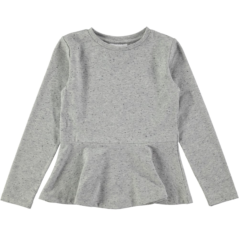Rosalind - Grey Melange - long sleeve grey t-shirt with peplum