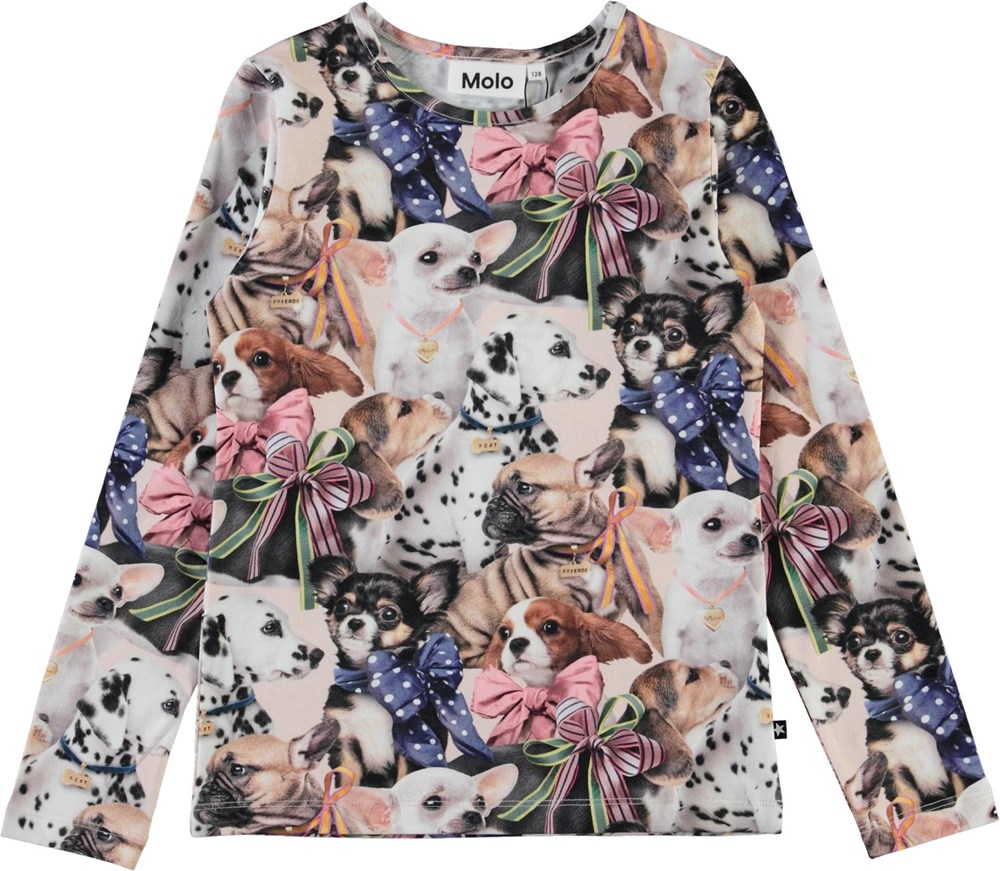 Rose -  Puppy Love - Organic top with dog print