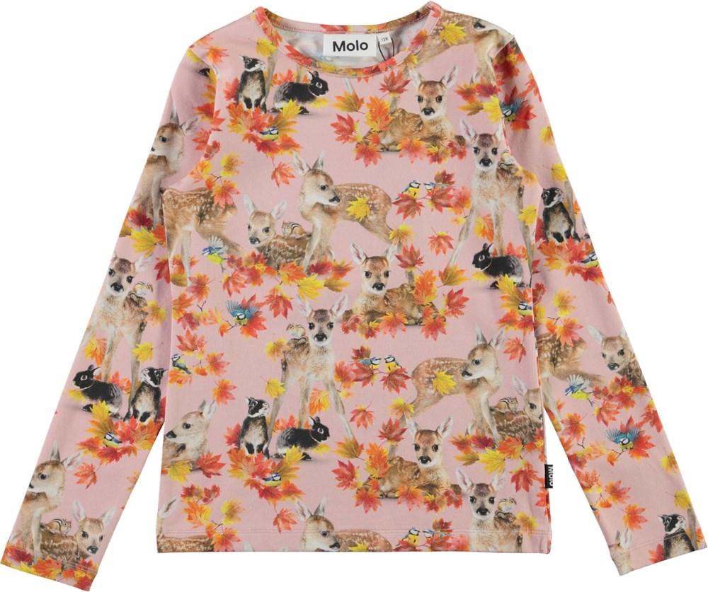 Rose - Autumn Fawns - Organic top with deer and rabbit print