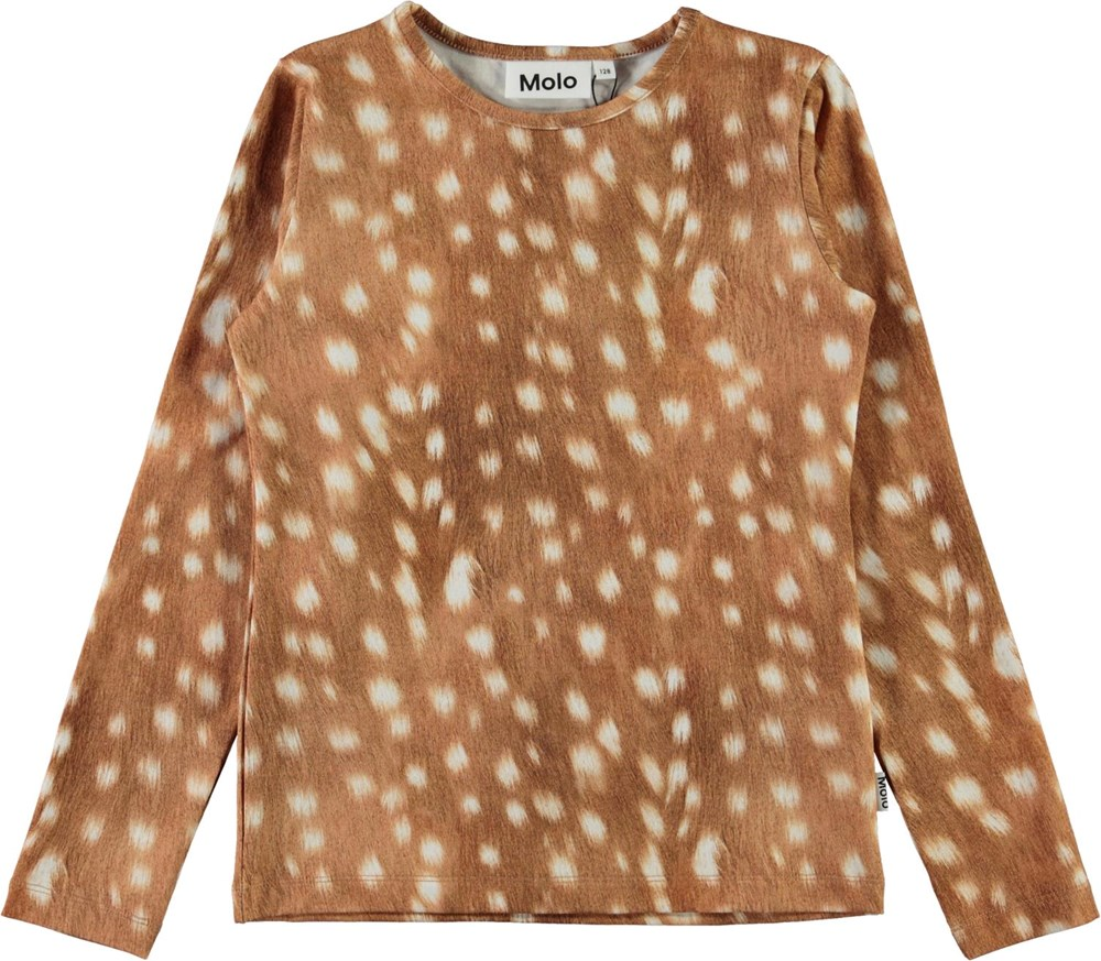 Rose - Baby Fawns - Brown organic top with white spots