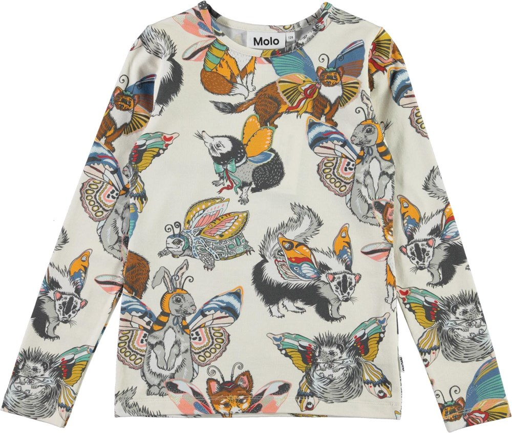 Rose - Hedgerow Buzz - Organic top with animals with wings