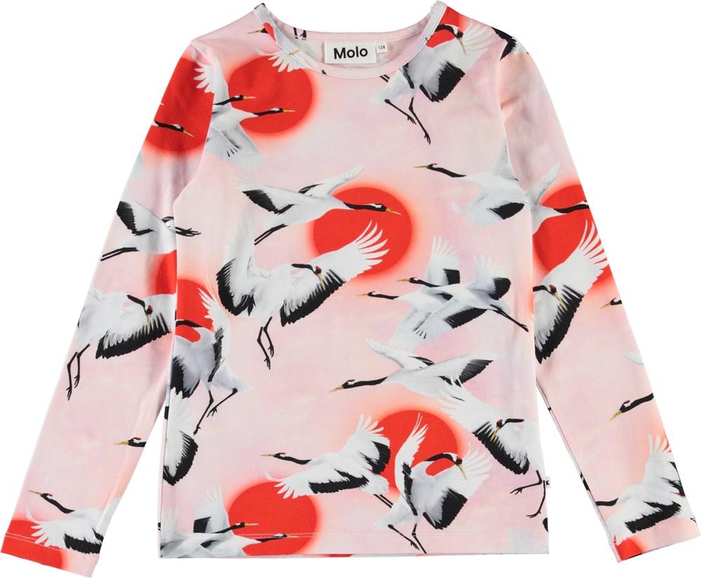 Rose - Sunrise Cranes - Pink organic top with cranes