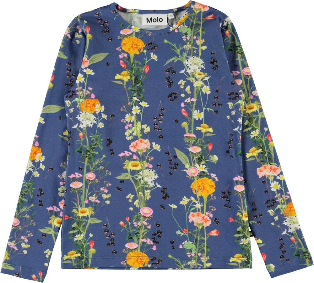 Rose - Vertical Flowers - Blue organic top with flowers
