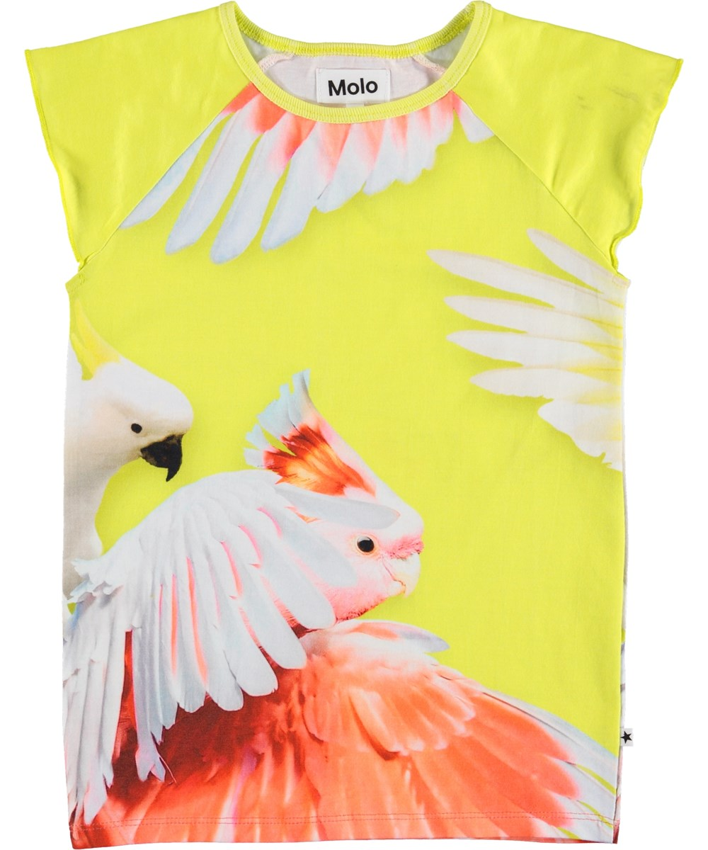 Rosetta - Zoom Cockatoos - Yellow t-shirt with parrots.