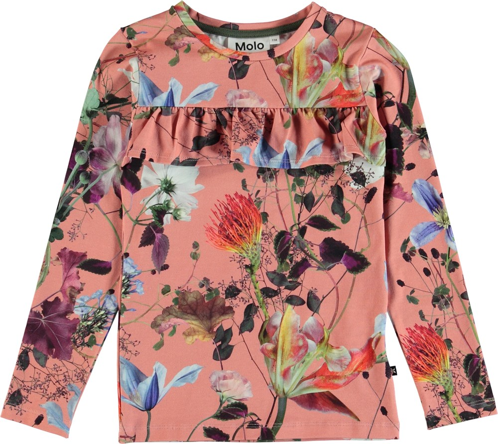 Rosita - Flowers Of The World - Flowered top with ruffle edge.