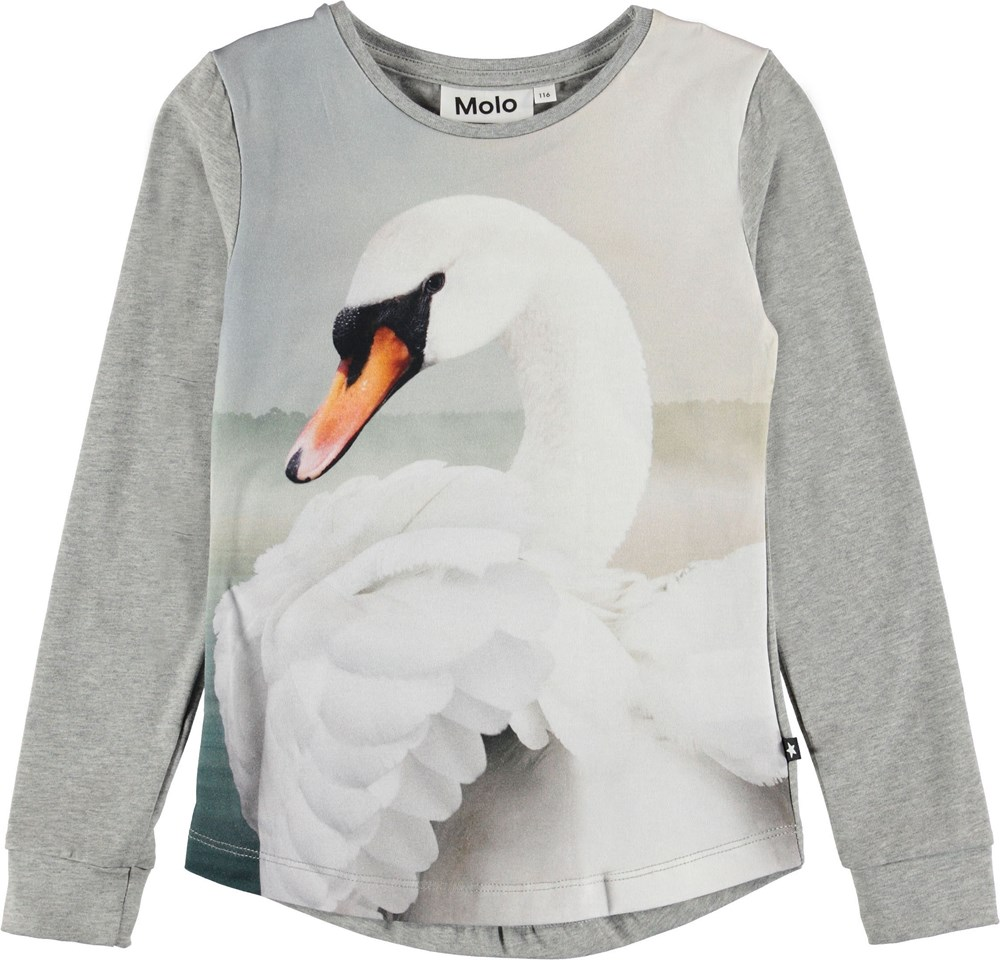 Roxana - White Swan - Grey top with swan.