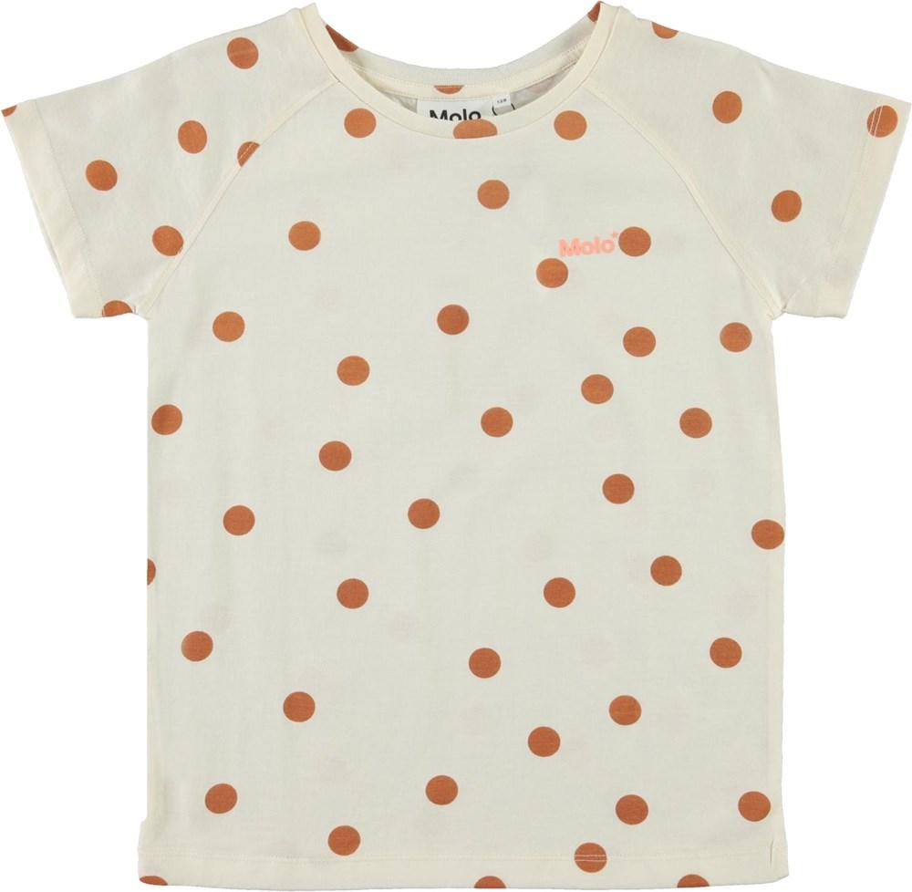 Rozalia - Autumn Dots - Beige organic t-shirt with a brown polka dot print