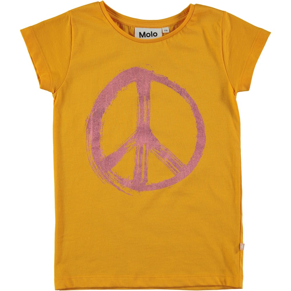 Ruana - Saffron - Short sleeve orange t-shirt with peace sign